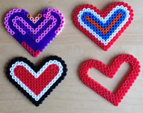 strijkkralen voorbeelden hartjes